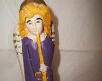 Retro Wood Purple Angel Statue Vintage Carved Wooden Figure Christmas Holiday Folk Art Home Decor