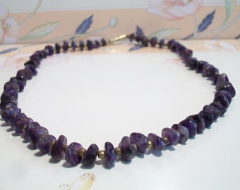 Vintage Tumbled Amethyst Necklace Beaded Purple Retro Jewelry Boho Beads