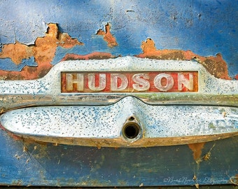 Rusty Hudson 2 - Vintage Car - Rustic Wall Art - 8x12 Prints - Retro Print - 1950 Hudson - Rust - Blue - Garage Art