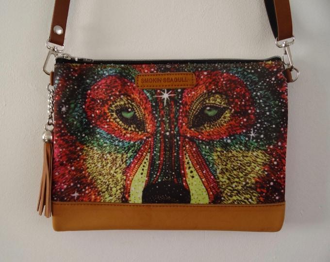 Galaxy Wolf Handbag - Glitter Disco Colourful Quirky Clubbing Brown Bag