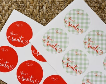 From Santa Christmas Holiday Gift Tags + Stickers