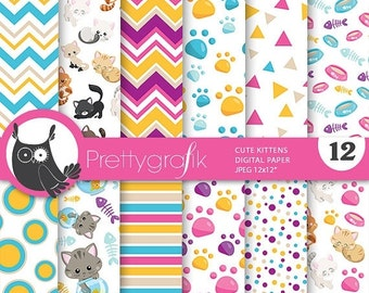 80% OFF SALE Cats digital paper, Kittens commercial use, kitties scrapbook papers, cats background, cat, kitten - PS809
