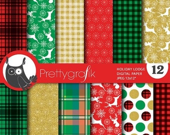 80% OFF SALE Christmas lodge digital paper, commercial use, scrapbook papers, background ...