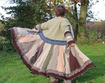 Upcycled Sweatercoat, Coatigan, Wool Coat. Recycled Wool Knitwear. Green, Brown, Earthy Shades. Plus size Extra Large. Handmade in UK OOAK