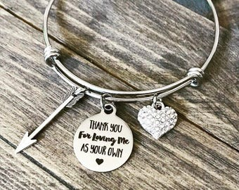 Thank You for Loving Me As Your Own -  Rhinestone Heart Charm Bangle Bracelet - Mothers Day Birthday Christmas Gift - Adoption Stepdaughter