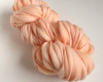 Handspun Thick and Thin Merino Yarn - 50 yds - Pale Peach