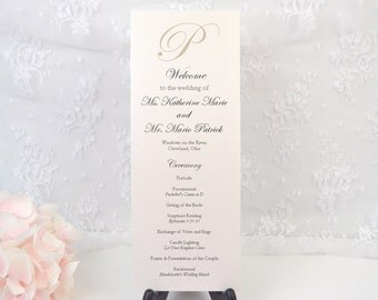PRINTED Ceremony Program, Wedding Program, Order of Service, Ivory, Sand, Taupe, Monogram, Elegant, Classy, Romantic, KATHERINE Design