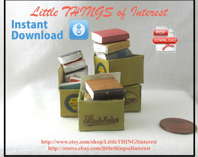 Dollhouse Doll OLD Miniature BOOKS in a BOX Tutorial and Print Dollhouse 1:12 Scale Miniature 3 Library Workshop Store Shop