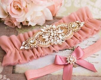 Dusty Pink Tulle Wedding Garter, Dusty Pink Bridal Garter, Wedding Garter Set, Tulle Bridal Garter Set, Dusty Pink Bridal Garter Belt