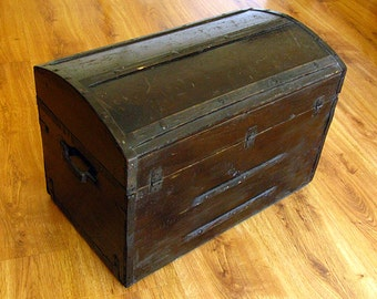 Antique Civil War Or Earlier Antique Chest - Furniture Trunk Old Wood 1800's - Pick-up Only @