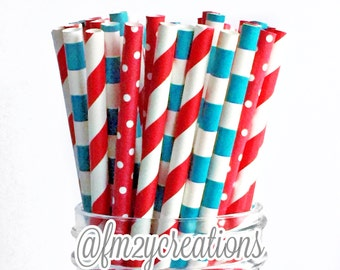Dr. Seuss Birthday Party | Dr. Seuss Birthday Baby Shower | Paper Straws | TURQUOISE and Red Paper Straws | Birthday Party | Carnival Party