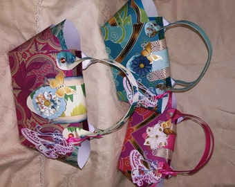 Handmade Paper Purses - One Sheet of 12 x 12 Paper Purse - Easy Paper Purse - Ladies Gift Bag