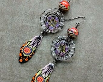 RESERVED SOLD to Anita! Flutter Fly Wing dangle earrings, Artisan handmade, lampwork, ceramic, boho unique modern art OOAK original jewelry