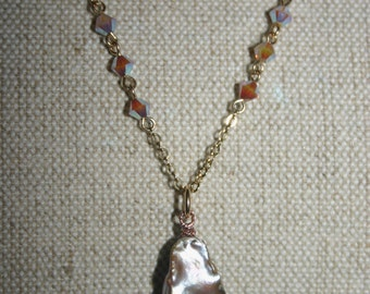 KESHI PEARL NECKLACE With Swarovski Crystal