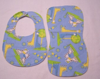 Zoo animals, jungle, giraffes, elephants, dinosaurs baby boy or girl flannel bib and burp cloths sets for babies/toddlers.