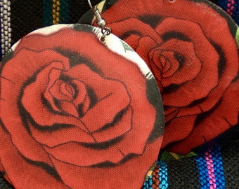 RED ROSES dangle drop handcrafted shell earrings