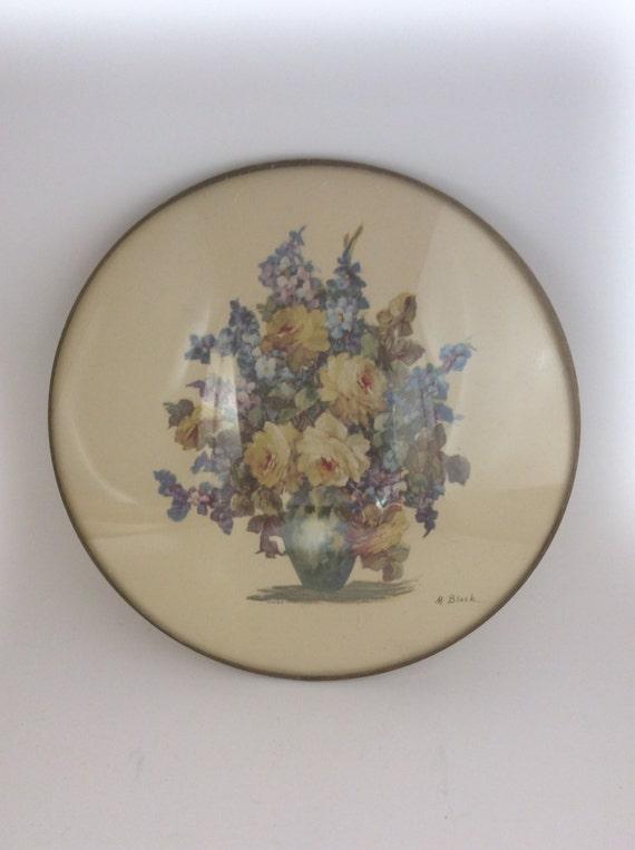 M. Black floral print in round domed framed, vintage floral print, shabby chic vintage, unique vintage piece of decor, M&B print, M. Black