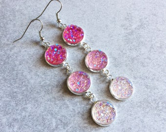 Pink Ombre Druzy Earrings - Fuchsia, Hot/Pastel Pink, Peach, Blush, Glitter Cabochons, Silver, Crystals, Geodes, Bohemian, Bridesmaid Gifts