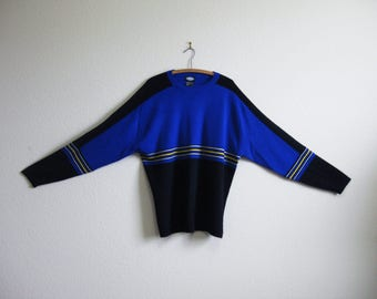 Blue Ski Sweater MEISTER XL 1980s Ski Sweater Made in Hong Kong