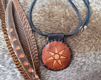 triple spiral talisman, triskele handmade leather amulet, elven star, faery star, double-sided handmade leather talisman, female power