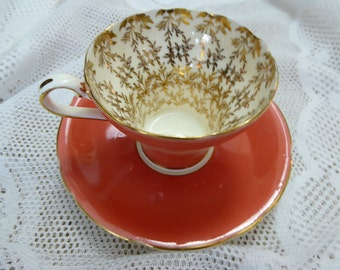 Vintage Aynsley  Bone China Tea cup and saucer Burnt Orange Gold Leaves on White Made In England Circa  1939