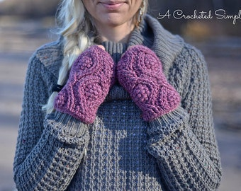 Crochet Pattern: Hourglass Cabled Fingerless Mitts & Mittens **Permission to Sell Finished Items INSTANT DOWNLOAD