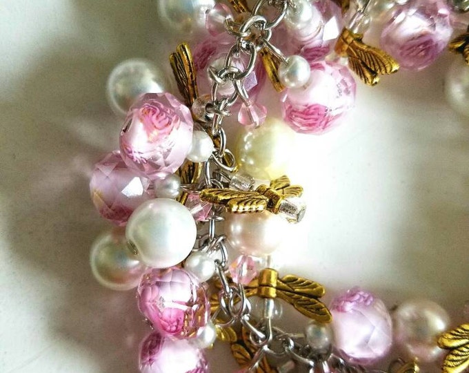 White Bead Pink Rose Glass Bead Gold Dragonfly Wing Cluster Toggle Bracelet