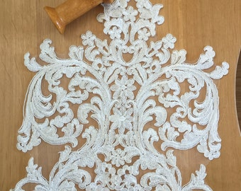 ivory wedding lace applique, bridal lace applique for wedding gown, bodice