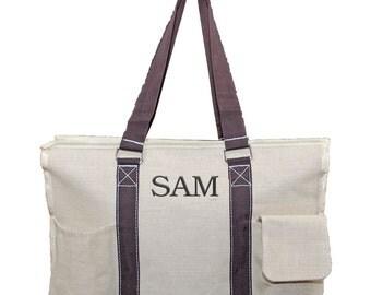Womens Craft Bag | Personalized Utility Bag | Monogrammed Tool Bag | Customized Craft Bag | Khaki Storage Tote | Khaki Juco Utility Tote