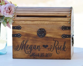 Shabby Chic Wedding Card Box, Rustic Wedding Card Box With Slot, Wood Card Box With Lock Option, Wedding Keepsake Chest, Custom With Heart