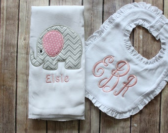 Monogrammed Burp Cloth, Baby Girl Burp Cloth and Bib Set, Personalized Girl Burp Cloth Bib Baby Gift, Baby Shower New Baby Monogrammed Gift