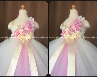 beautiful flower girl tutu dress in pink and ivory