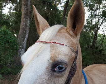 Faux Ruby and Diamond Browband for Horse or Pony - Red Horse Jewelry - Equine Bling Tack Jewellry - Gift for Horse Lover