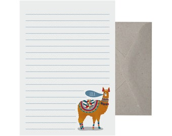 stationery au writing set llama hola letter writing set recycled paper writing set note