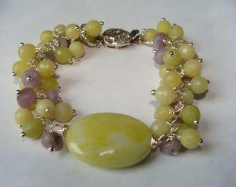 Lemon Jade and Lavendar Stone Bracelet in Sterling Silver