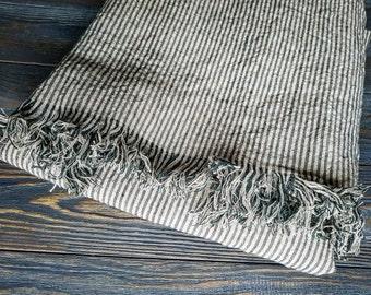 Fringed striped linen blanket, softened black beige linen blanket, striped linen throw, linen beach wrap, linen throw, striped linen cover