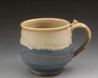 Handmade Pottery Mug Tan and Blue  Stoneware by Mark Hudak