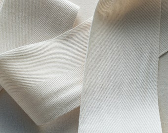 3 Inch Wide Twill Tape, Natural Cotton Heavyweight - 1, 5 or 10 yards