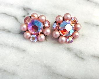 Vintage Clip On Pink Flower Earrings with Rhinestones