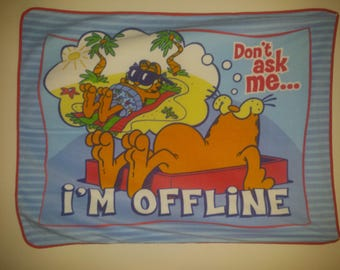 Garfield- i'm Offline- finished Fleece Blanket.