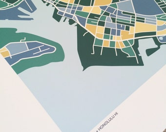 Downtown Honolulu Hawaii Map Print