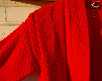Vintage 80's 90's Girls' Sweater - Red Sweater with Gold Buttons