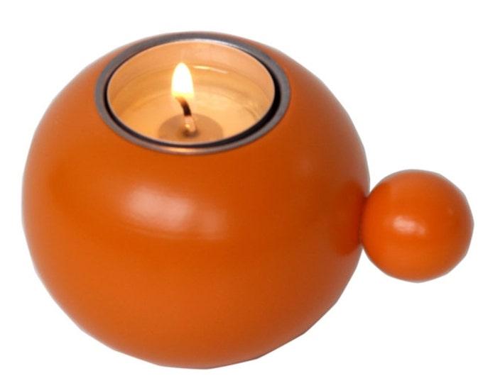 Scandinavian Modern Wood Candle Holder Orange Made in Sweden