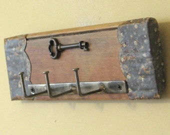 Bent-Nail Wall Key Holder with Real Brass Skeleton Key - Shabby Chic