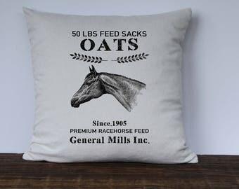 Farmhouse Pillow Cover, Feed Sack Pillow, Horse Oats Pillow, Decorative Pillow, Custom couch pillow, Farmhouse decor