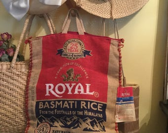 Royal Basmati Rice Burlap Zippered Bag