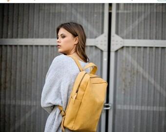 Sale, Leather Backpack, Student Laptop Bag, Travel Bag, Women Backpack - Mustard Smith