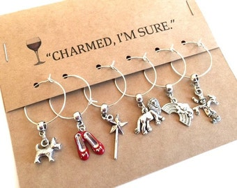 Wizard of Oz Themed Wine Glass Charms Set of six Cup Tags Ruby Red Slippers Wand Toto Whimsical Party Favor Housewarming Gift Vino Charm