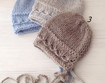 NEW! Knit Newbor hat, Newborn sizes, Baby boy, Bonnet, Photography prop