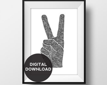 Peace Sign Hand - Original Illustration- Hand drawn - digital download